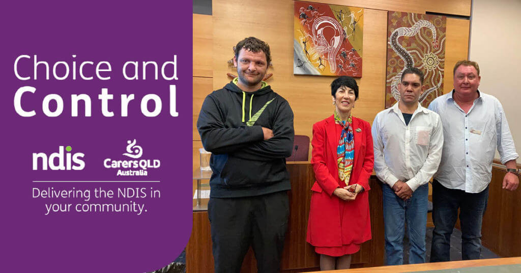 NDIS participants Owen and Marshall with Magistrate Tina Previtera and Colin from Carers Queensland
