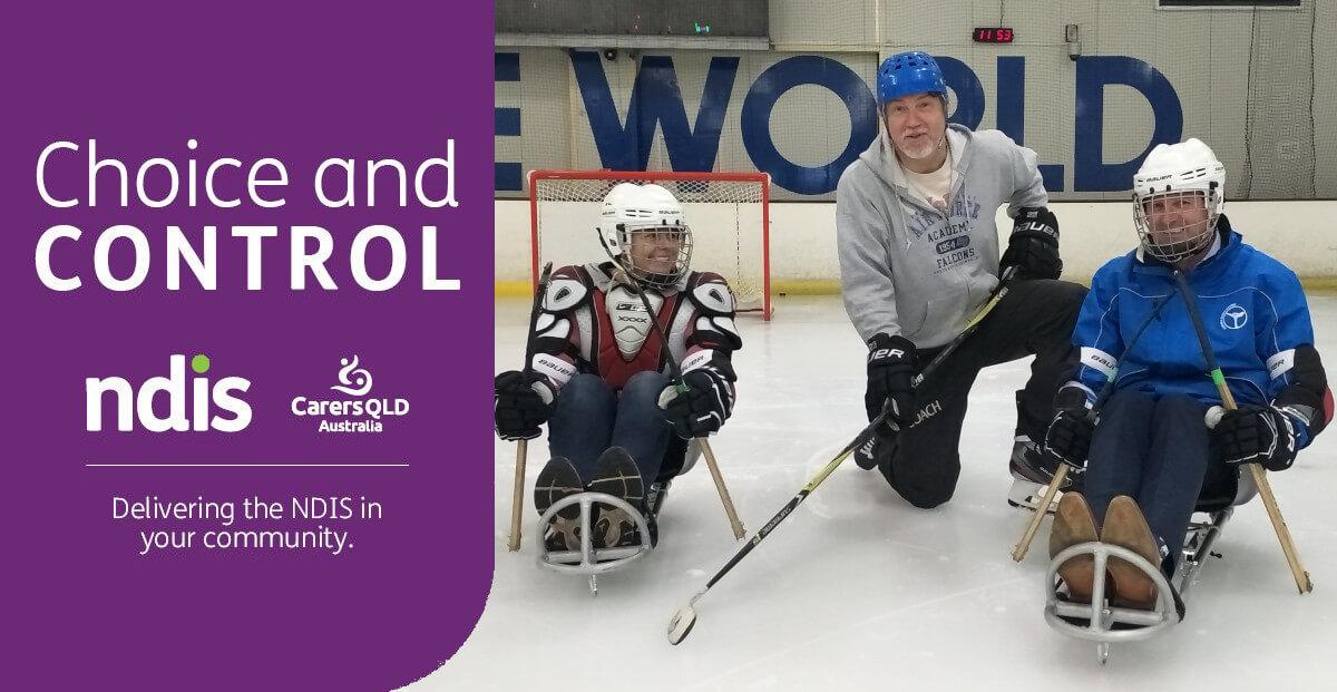 Three para ice hockey players pose with gear