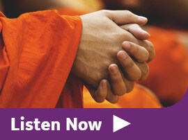 A Buddhist monk's hands clasped in prayer