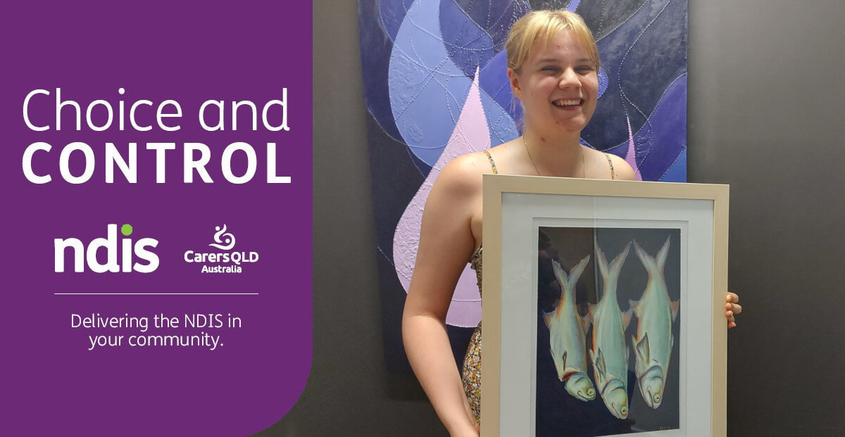Rebecca Johnson with her painting of three fish, called Even In Death